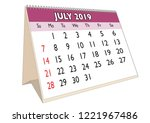 2019 july month in a desk... | Shutterstock .eps vector #1221967486