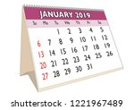 2019 january month in a desk... | Shutterstock .eps vector #1221967489