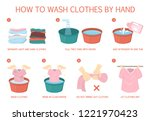 how to wash clothes by hand... | Shutterstock .eps vector #1221970423