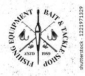 fishing vector emblem  label or ... | Shutterstock .eps vector #1221971329