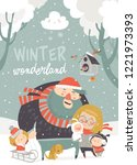 winter fun. happy family at... | Shutterstock .eps vector #1221973393