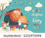 winter fun. happy family at... | Shutterstock .eps vector #1221973396