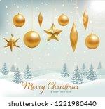hanging gold christmas balls...   Shutterstock .eps vector #1221980440