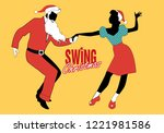 christmas couple dancing swing  ... | Shutterstock .eps vector #1221981586