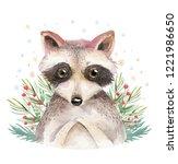 set of christmas woodland cute... | Shutterstock . vector #1221986650