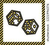 dices sign. vector. warm yellow ... | Shutterstock .eps vector #1221996376