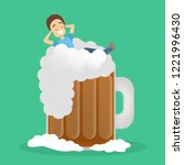 drunk man with alcohol... | Shutterstock .eps vector #1221996430