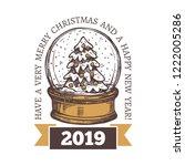 christmas vector emblem  label... | Shutterstock .eps vector #1222005286