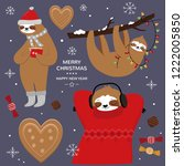 merry christmas card with cute... | Shutterstock .eps vector #1222005850