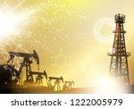 oil derrick industrial machine... | Shutterstock .eps vector #1222005979