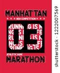 manhattan marathon t shirt... | Shutterstock .eps vector #1222007569