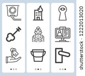 simple set of  9 outline icons... | Shutterstock .eps vector #1222013020