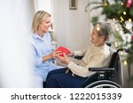 health visitor and senior woman ... | Shutterstock . vector #1222015339