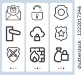 simple set of  9 outline icons... | Shutterstock .eps vector #1222017346