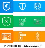 simple set of  9 outline icons... | Shutterstock .eps vector #1222021279