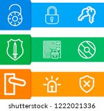 simple set of  9 outline icons... | Shutterstock .eps vector #1222021336