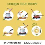 chicken soup recipe for cooking ... | Shutterstock .eps vector #1222025389