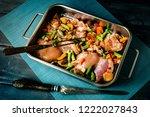 prepared for baking chicken... | Shutterstock . vector #1222027843