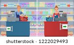 young man and woman cashier at... | Shutterstock .eps vector #1222029493
