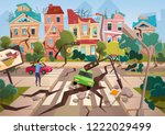 earthquake disaster with... | Shutterstock .eps vector #1222029499