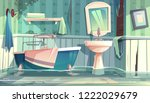 flooded bathroom in old... | Shutterstock .eps vector #1222029679