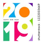 happy new year 2019 text... | Shutterstock .eps vector #1222033669