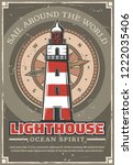 marine lighthouse vintage... | Shutterstock .eps vector #1222035406