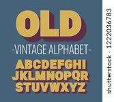 3d font alphabet. vintage style ... | Shutterstock .eps vector #1222036783