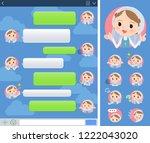 a set of nun women with... | Shutterstock .eps vector #1222043020