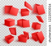 red empty present boxes from... | Shutterstock .eps vector #1222053016