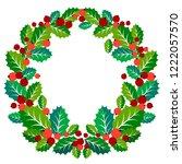 christmas wreath of mistletoe... | Shutterstock .eps vector #1222057570