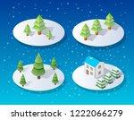 christmas city isometric urban... | Shutterstock .eps vector #1222066279