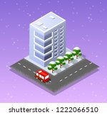 christmas city isometric urban... | Shutterstock .eps vector #1222066510