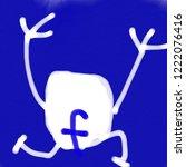 running facebook. kid drawing | Shutterstock . vector #1222076416