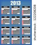 2013 Blue Vector Calendar Eps10