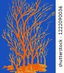 Orange Vector Tree On Blue