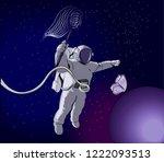 cosmonaut is chasing a...   Shutterstock .eps vector #1222093513