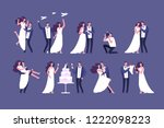 wedding couples. bride and... | Shutterstock .eps vector #1222098223