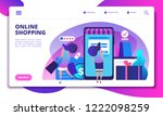 online shopping landing page.... | Shutterstock .eps vector #1222098259