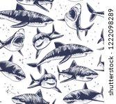 sharks seamless pattern. hand... | Shutterstock .eps vector #1222098289