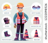 worker with safety equipment.... | Shutterstock .eps vector #1222098526