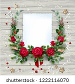 christma swreath with flowers | Shutterstock .eps vector #1222116070