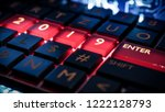 close up view of keyboard with... | Shutterstock . vector #1222128793