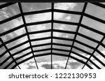 modern glass roof with steel... | Shutterstock . vector #1222130953