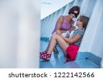 mother and daughter traveling... | Shutterstock . vector #1222142566