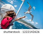 girl feeding seagulls flying... | Shutterstock . vector #1222142626
