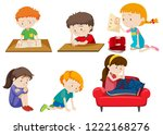 set of depressed children... | Shutterstock .eps vector #1222168276