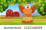 hen at the farmland illustration | Shutterstock .eps vector #1222168309