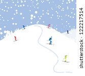 people skiing  winter mountain... | Shutterstock .eps vector #122217514