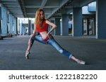 ballerina dancing in jeans  t... | Shutterstock . vector #1222182220